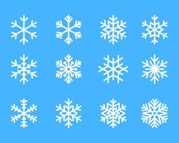 ilustrações, clipart, desenhos animados e ícones de inverno de floco de neve conjunto de silhueta ícone isolado azul na ilustração vetorial de fundo branco - inverno