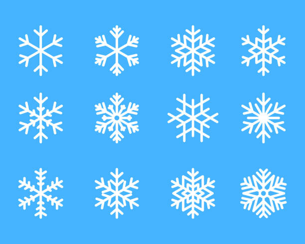 snowflake winter set of blue isolated icon silhouette on white background vector illustration snowflake winter set of blue isolated icon silhouette on white background vector illustration. ice stock illustrations