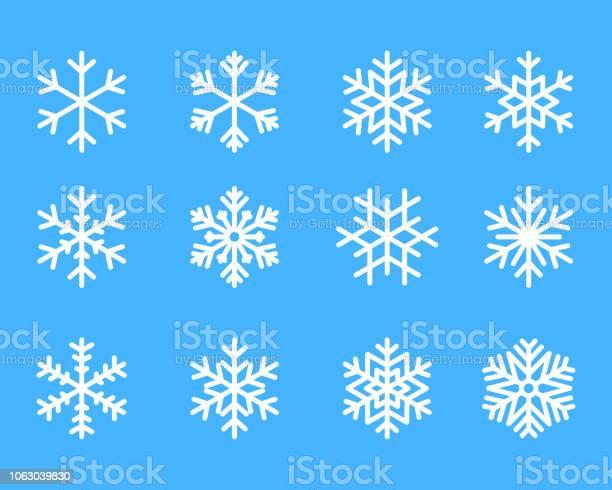 Schneeflocke Winter Set Blau Isolierte Symbol Silhouette Auf Weißem Hintergrundvektorillustration Stock Vektor Art und mehr Bilder von Abstrakt