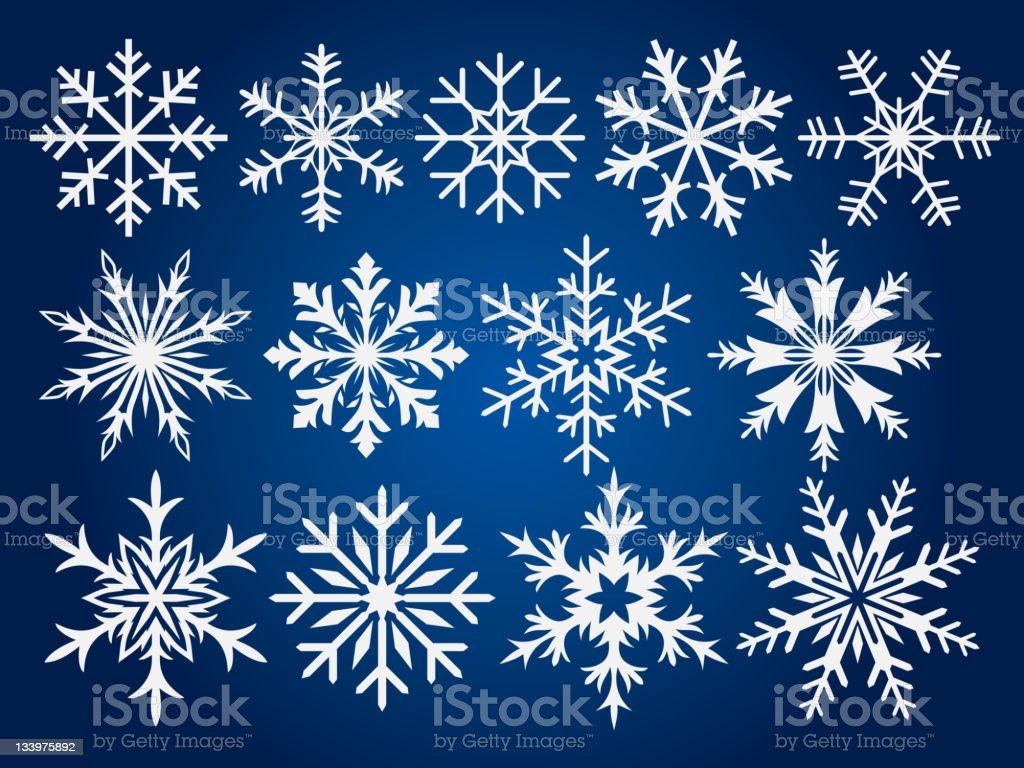 Schneeflocken winter set – Vektorgrafik