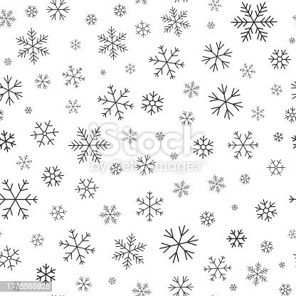 istock Snowflake winter snow line seamless pattern vector 1178565925