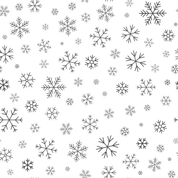 Snowflake winter snow line seamless pattern vector Snowflake line seamless pattern. Layered winter season ornate star background. Linear snow flakes repeat ornament for paper wrap, fabric print, wallpaper decor. Frosty ice outline vector illustration christmas backgrounds stock illustrations