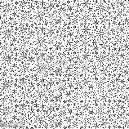 istock Snowflake winter snow line seamless pattern vector 1184567160