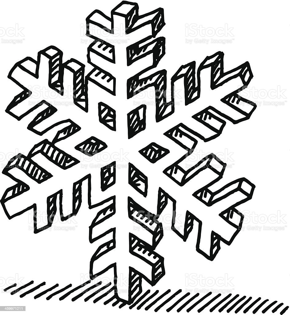 Snowflake Winter Symbol Drawing royalty-free stock vector art