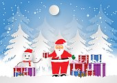 Snowflake with santa and gift boxes for Christmas Season, Vector illustration Paper art style.