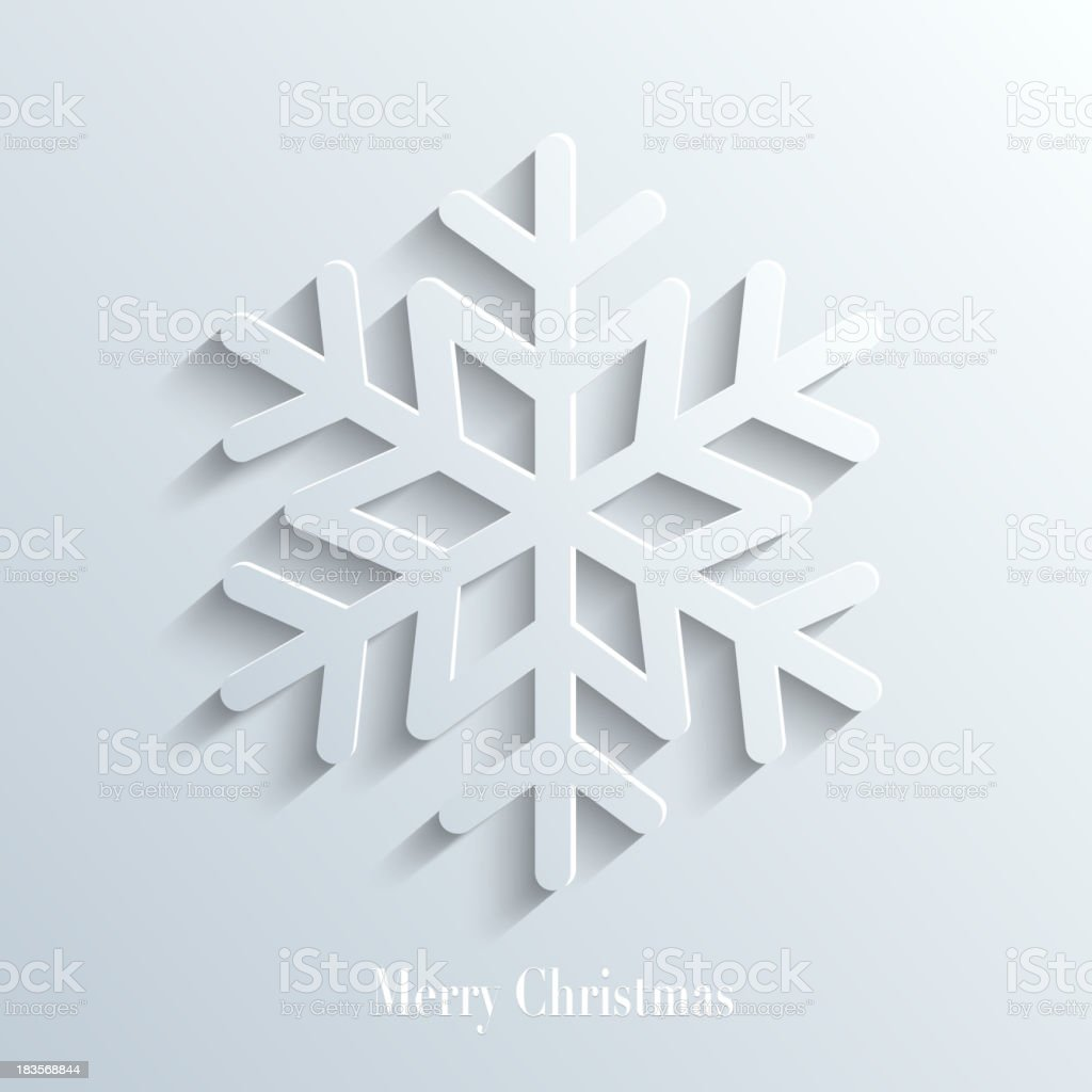 Snowflake with shadow merry christmas vector art illustration