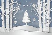 snowflakes and christmas tree