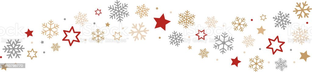 Snowflakes and Stars Border vector art illustration