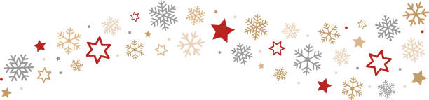 bildbanksillustrationer, clip art samt tecknat material och ikoner med snowflakes and stars border - christmas decorations