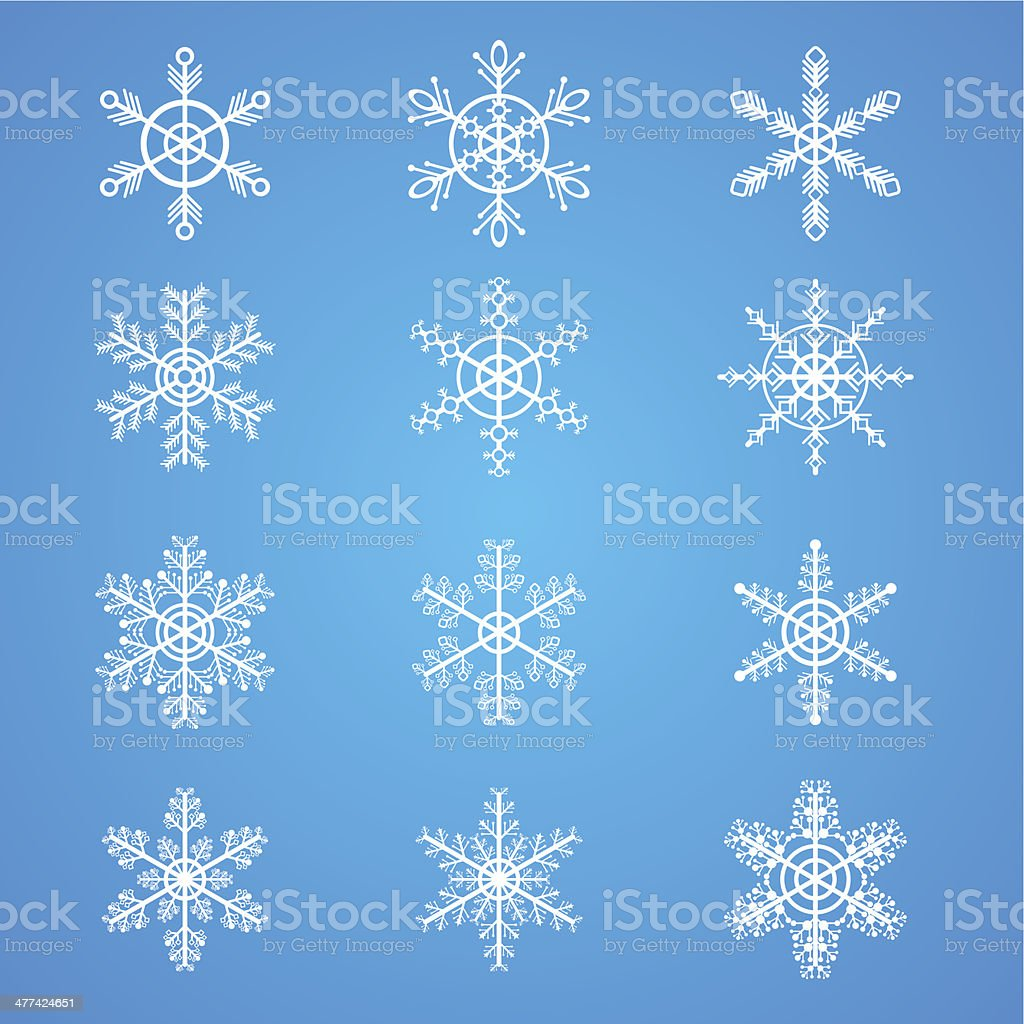 Snowflakes collection, element for design royalty-free stock vector art