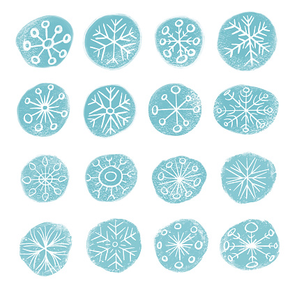 Snowflakes collection pencil drawing style