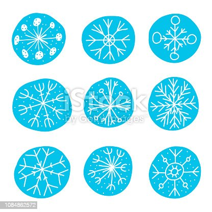 Vector illustration of a set of hand drawn and hand painted snowflakes