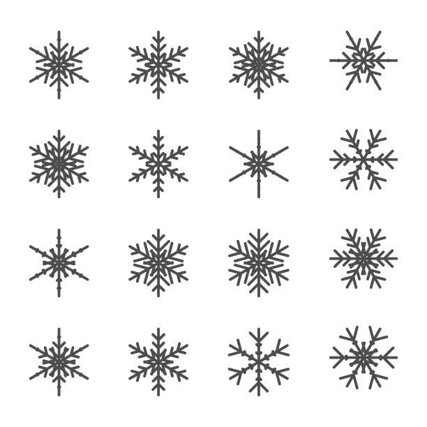 Snowflakes collection Vector illustration of a collection of flat design and minimalistic snowflakes ice crystal stock illustrations
