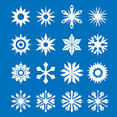 Vector illustration of a collection of snowflakes
