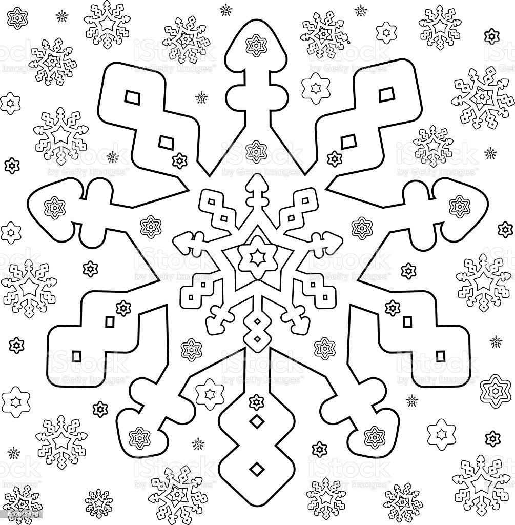 Snowflakes Coloring Page Stock Illustration Download Image