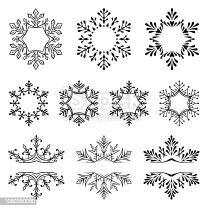 Set of snowflakes. Frames for text. Vector illustration. Design elements isolated black on white background. One color - black.