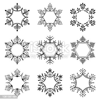 Set of snowflakes. Frames for text. Vector illustration. Design elements isolated on white background. One color - black.