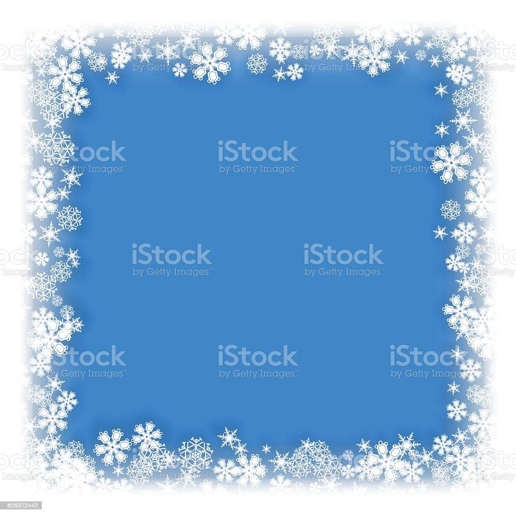 Snowflakes Designs Vector Blue Frame – Vektorgrafik
