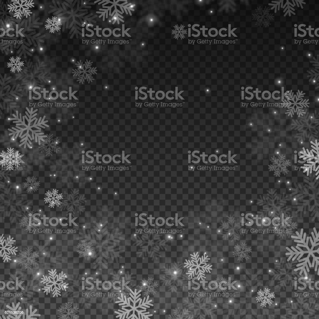 Snowflakes Effect on Transparent Background vector art illustration