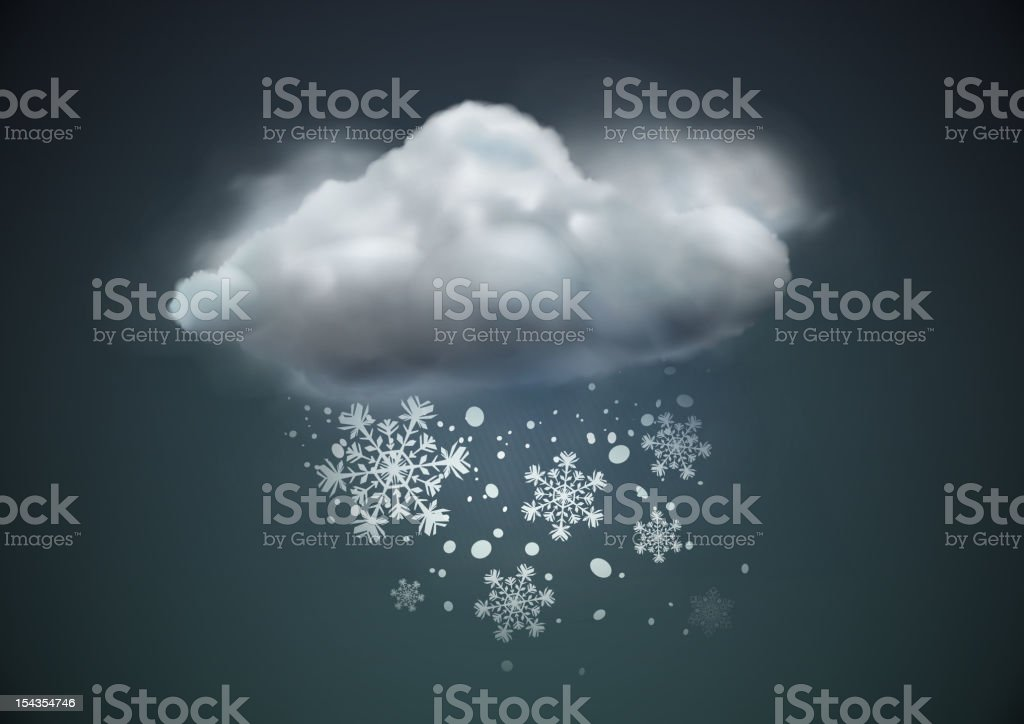Snowflakes falling from a cloud royalty-free stock vector art