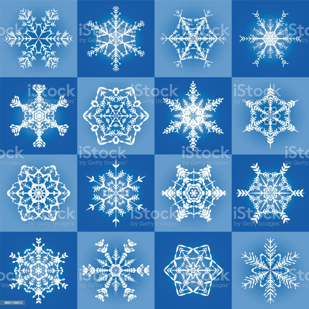 Snowflakes Filigree Blue Christmas Pattern Background With Sixteen ...