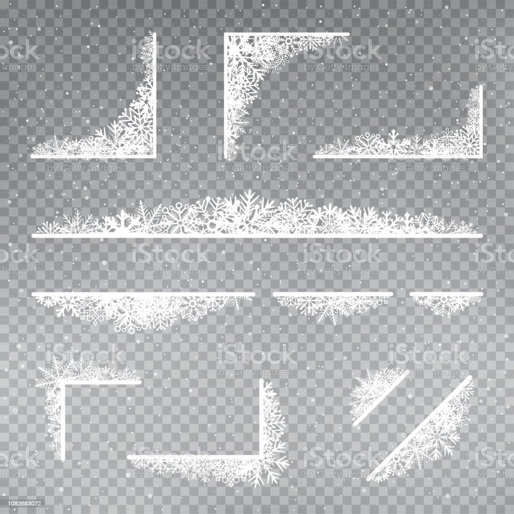 snöflingor Rama hörnet mallen uppsättning - Royaltyfri Affisch vektorgrafik