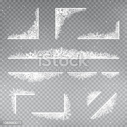 Snowflakes rectangular frame corner template set on gray transparent background. Christmas holiday ice ornament banner