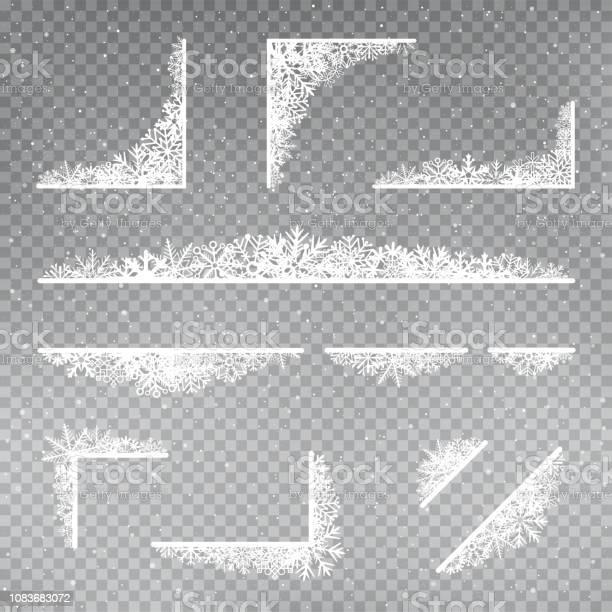 Snöflingor Rama Hörnet Mallen Uppsättning-vektorgrafik och fler bilder på Affisch