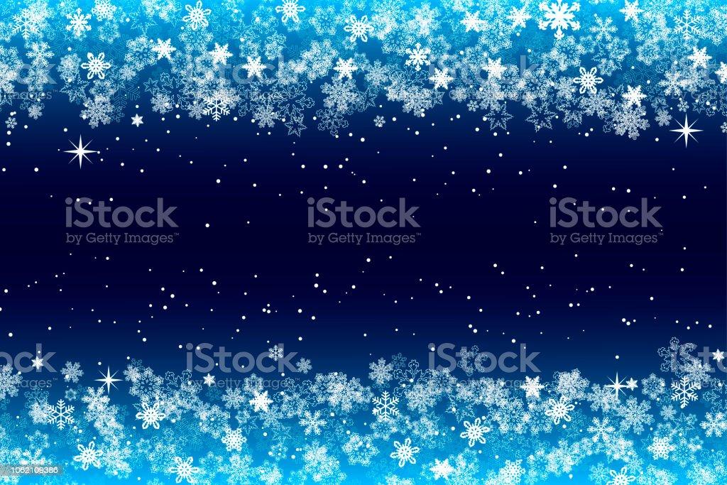 Schneeflockenrahmen Mit Dunkelblauen Hintergrund Für Weihnachten Und ...
