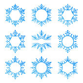 Set of snowflakes. Frames for text. Vector illustration. Blue design elements on white background. One color.