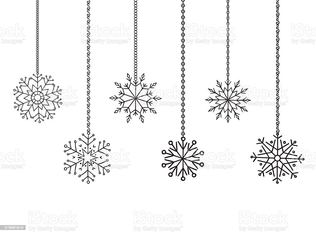 Snowflakes Garland Border Christmas And New Year