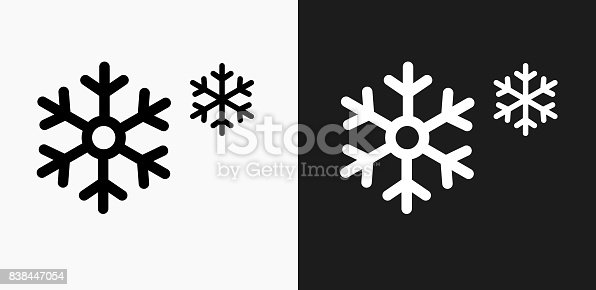 istock Snowflakes Icon on Black and White Vector Backgrounds 838447054