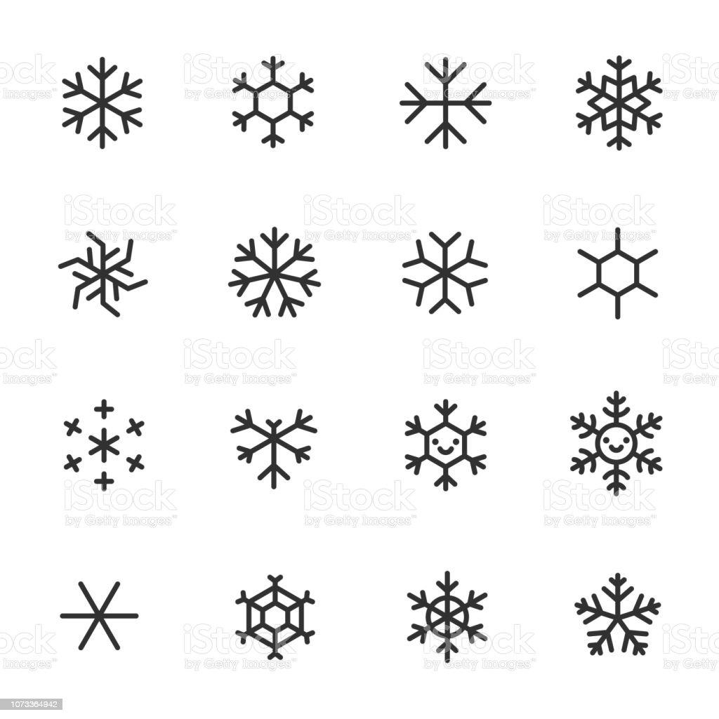 Schneeflocken, Icon-Set. Verschiedene Formen, lineare Symbole. Linie mit editierbaren Schlaganfall - Lizenzfrei Abstrakt Vektorgrafik