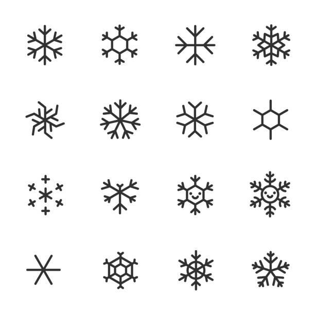 płatki śniegu, zestaw ikon. różne kształty, ikony liniowe. linia z edytowalnym obrysem - prostota stock illustrations