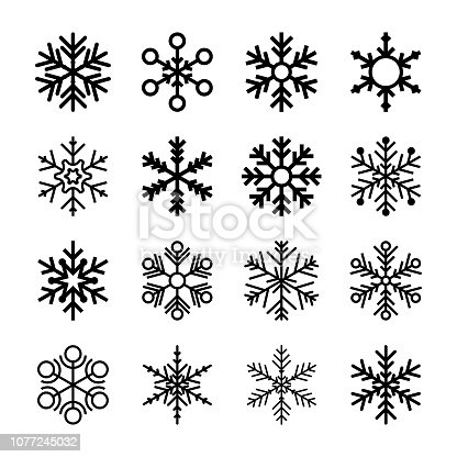 Vector illustration of a collection of snowflakes icons in flat design style