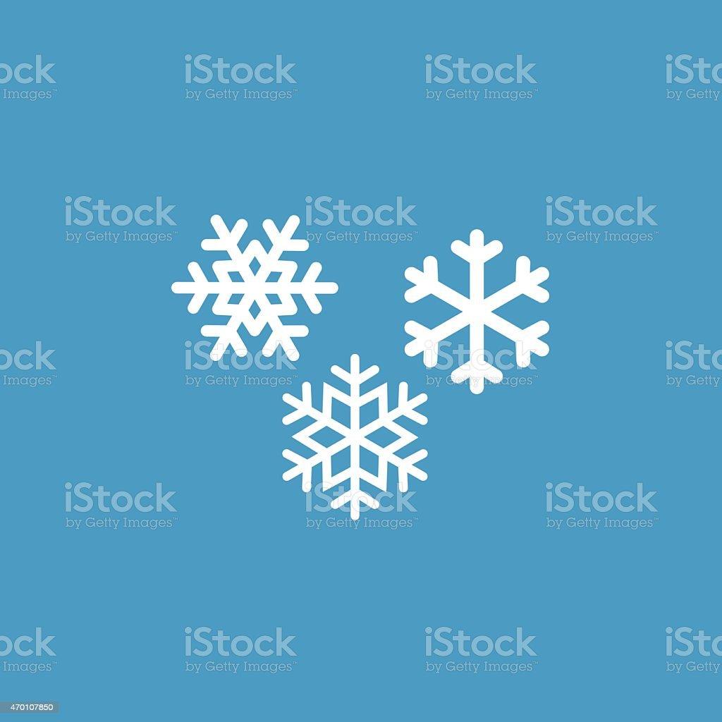 snowflakes icono, blanco en fondo azul - arte vectorial de 2015 libre de derechos