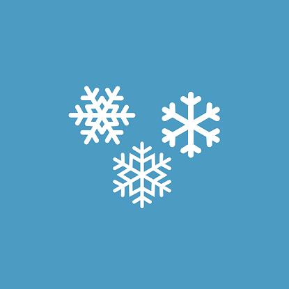 snowflakes icon, white on the blue background