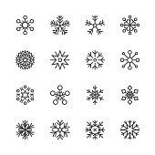 Set of 16 snowflakes. EPS 10 file.