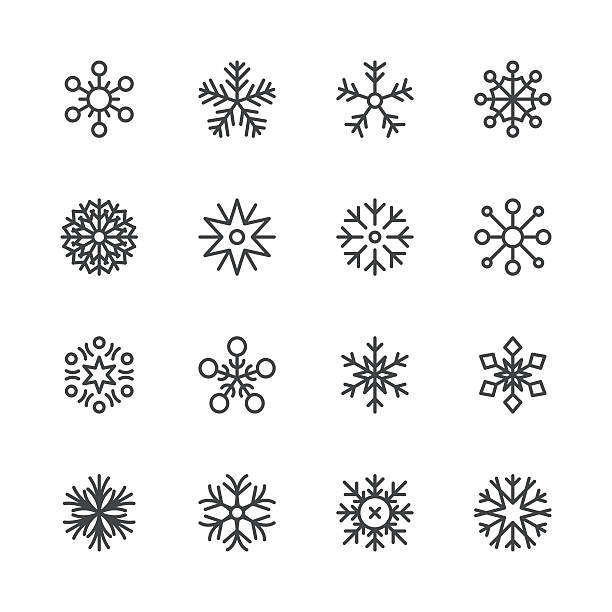 snowflakes icons set 1 | black line series - holiday icons stock illustrations, clip art, cartoons, & icons