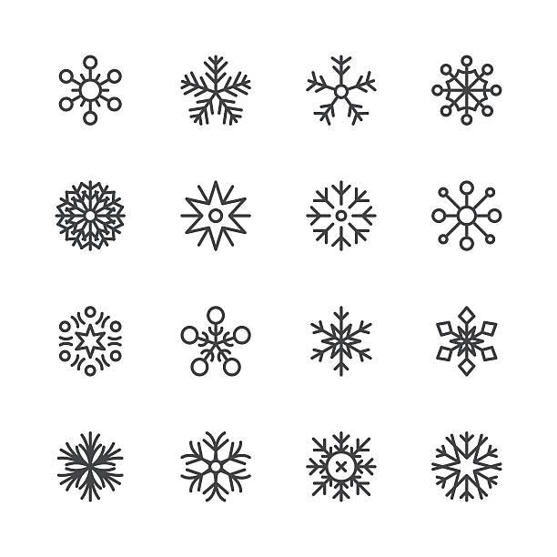 Snowflakes icons set 1 | Black Line series Set of 16 snowflakes. EPS 10 file. christmas symbols stock illustrations