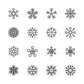 Snowflakes icons set 1 | Black Line series