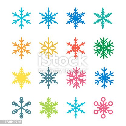 Vector illustration of a set of snowflakes icons, ideal for design projects and christmas ideas and concepts.