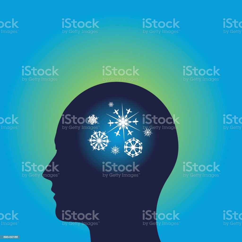 Snowflakes in human head vector art illustration