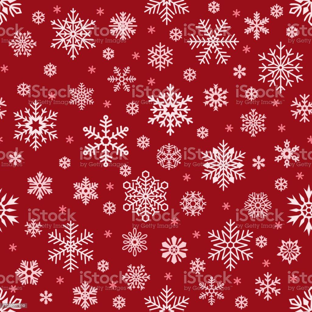 Schneeflockenmuster Weihnachten Fallende Schneeflocke Auf Rotem ...