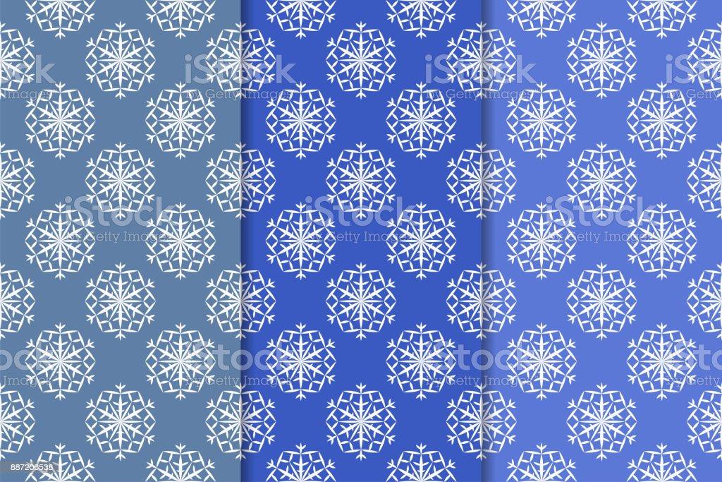 Schneeflockenmuster Set Blau Nahtlose Hintergründe Mit Weihnachten ...