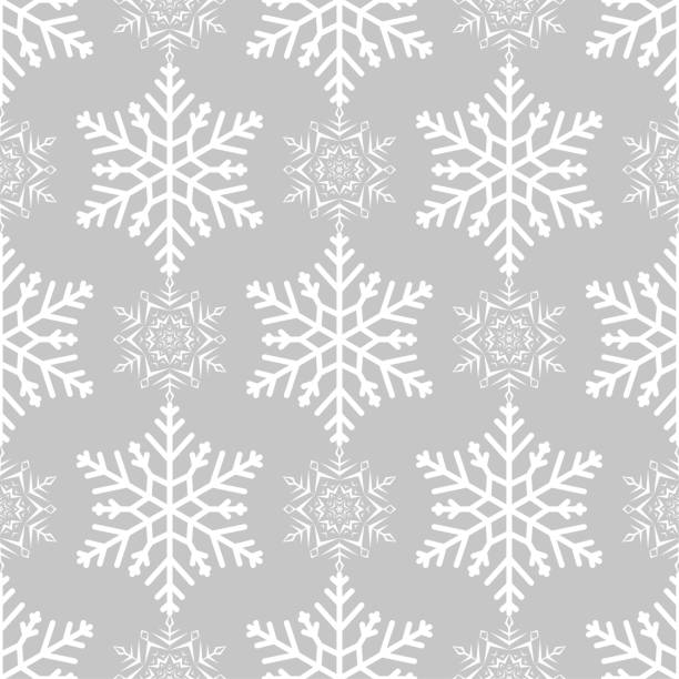 Bекторная иллюстрация Snowflakes seamless pattern. Light gray background with christmas elements