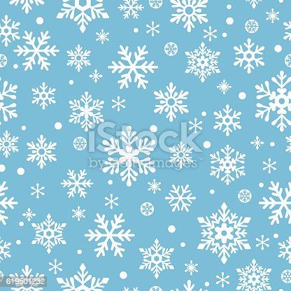 istock Snowflakes seamless pattern 619501232