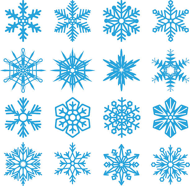snowflakes set icon collection on white background. vector illustration. - blue clipart stock illustrations