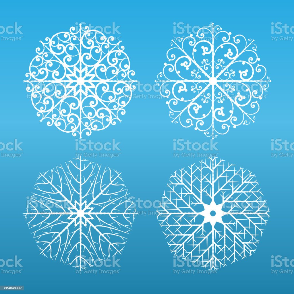 Snowflakes set on blue background vector art illustration
