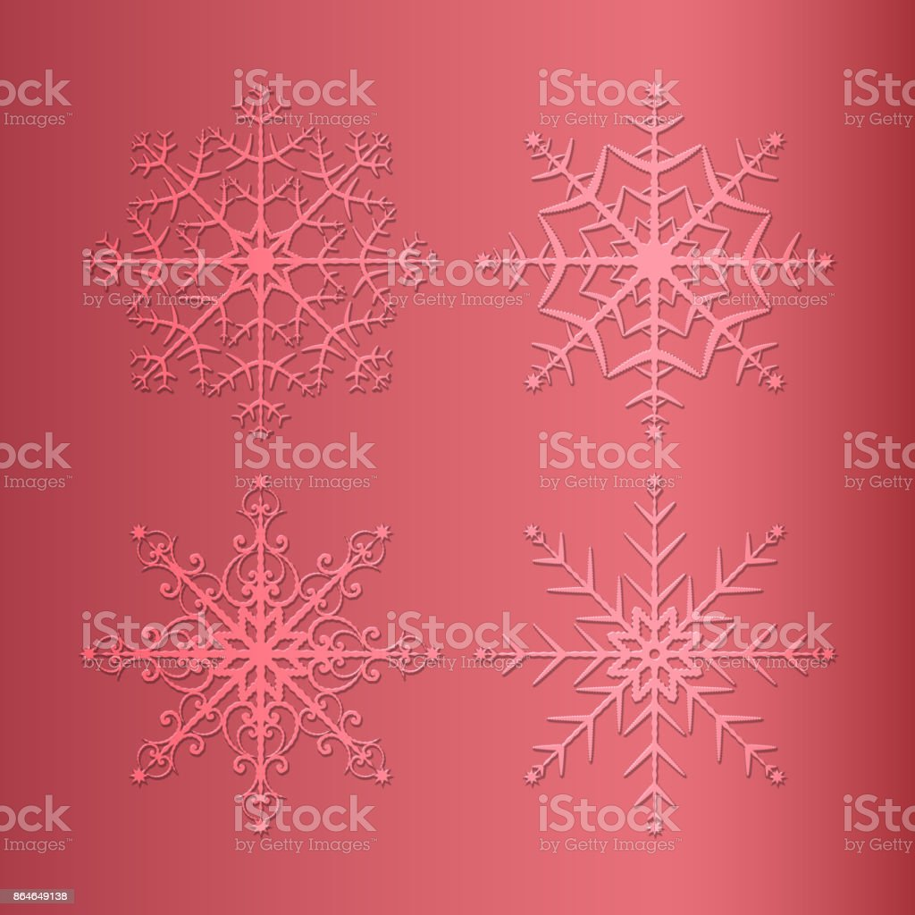 Snowflakes set on red background vector art illustration